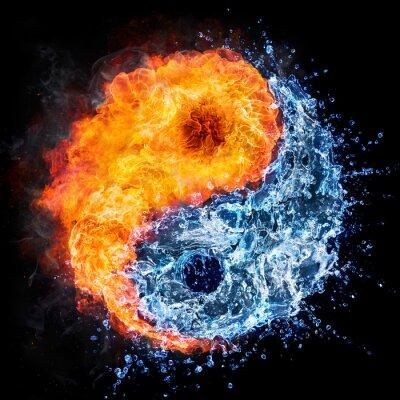Naklejka ogień i woda - yin yang koncepcja - symbolu tao