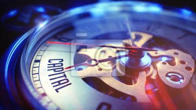 Naklejka Oglądaj twarz z tekstem Capital na nim. Koncepcja biznesowa z efektem vintage. Vintage Pocket Clock Twarz z tekstem Capital, Zamknij Widok mechanizmu Watch. Pomysł na biznes. Efekt Vintage. Ilustracja