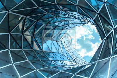 Naklejka ogromna dziura w nowoczesnym budynku we Frankfurcie.