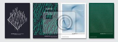 Naklejka Okładkowi szablony ustawiający, wektorowy geometryczny abstrakcjonistyczny tło. Ulotka, prezentacja, broszura, baner, projekt plakatu.
