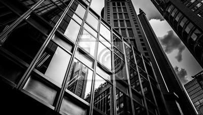 Naklejka Okna budynku firmy z B & W kolorze