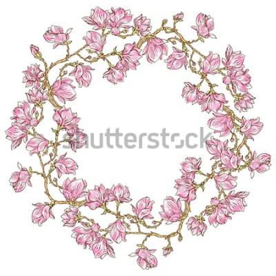 Naklejka Okrągły ornament wektor z kwiatem magnolii. Vintage stylizowana ramka kwiatowy. Może być używany do kart, zaproszeń, tkanin, tapet, ozdobnych szablonów do projektowania i dekoracji itp