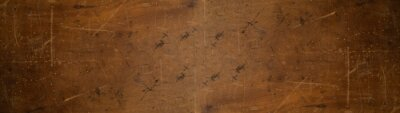 Naklejka old brown rustic weathered scratched dirty dark wooden table wall texture - wood timber background panorama banner.