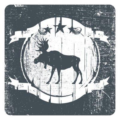 Naklejka old moose grunge shield with copy space