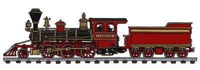 Naklejka Old red american steam locomotive / Hand drawing, vector illustration