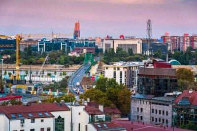 Naklejka Old Sava bridge connecting new and old parts of Belgrade, the Serbian capital city