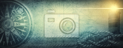 Naklejka  Old sea compass, lighthouse and sea knot on abstract map background. Pirate, explorer, travel and nautical theme grunge background. Retro style.