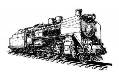 Naklejka old steam locomotive