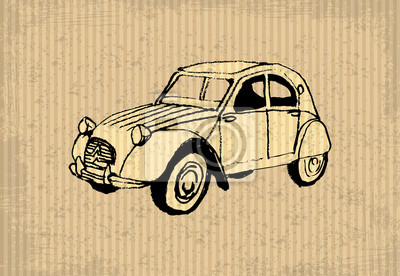 Naklejka Old-Timer - citroen 2 cv 1964, ilustracji na cartboard