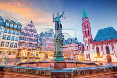 Naklejka Old town square romerberg in Frankfurt, Germany