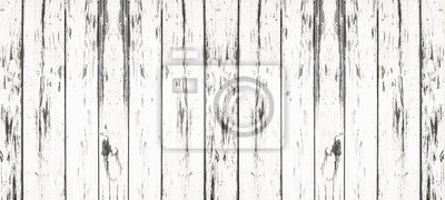 Naklejka old white painted exfoliate rustic bright light shabby wooden texture - wood background panorama banner