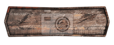 Naklejka Old wooden sign isolated on white