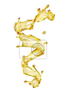 Naklejka Olive or engine oil splash, cosmetic serum liquid isolated on white background. 3d illustration