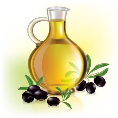 Naklejka Oliwa z oliwek i oliwki