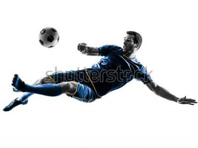 Naklejka one caucasian soccer player man playing kicking in silhouette isolated on white background