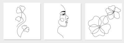 Naklejka One line drawing abstract woman face, ginkgo biloba leaf, flower. Modern single line art, female portrait, aesthetic contour. Great for poster, wall art, tote bag, t-shirt print, sticker, logo. Vector
