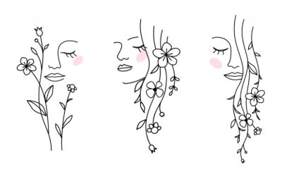 Naklejka One line drawing. Set of abstract beautiful girl with flower and leaf in long hair. Decorative female beauty icon with floral pattern. Natural cosmetic concept. Vector illustration