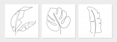 Naklejka One line drawing vector monstera leaf and banana tree leaves. Modern single line art, aesthetic contour. Perfect for home decor such as posters, wall art, tote bag, t-shirt print, sticker, mobile case