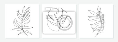 Naklejka One line drawing vector monstera leaf and palm tree leaves. Modern single line art, aesthetic contour. Perfect for home decor such as posters, wall art, tote bag or t-shirt print, sticker, mobile case