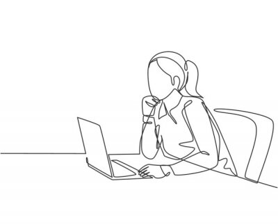 Naklejka One single line drawing of young female employee sitting in front of the laptop and thinking business solution at the office. Business idea concept continuous line draw design vector illustration