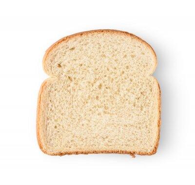 Naklejka One slice of bread isolated on white background.