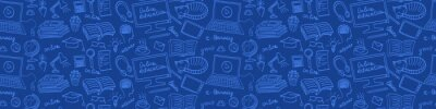 Naklejka Online education hand drawn seamless web banner. E-learning doodles on blue background. Vector illustration.