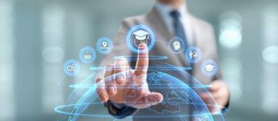 Naklejka Online education internet learning e-learning concept on digital interface.