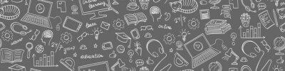 Naklejka Online education seamless web banner. Distance learning doodles on grey background. Vector illustration.