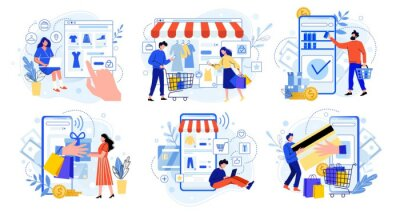 Online shopping. Internet market, mobile app shopping and people buy gifts. Smartphone payment and outfit sale flat vector illustration set. E commerce concept. Customers faceless characters