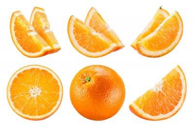 Naklejka Orange isolate. Orange fruit set on white background. Whole orange fruit with slice.