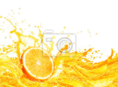 Naklejka Orange juice splashing with its fruits isolated on white background