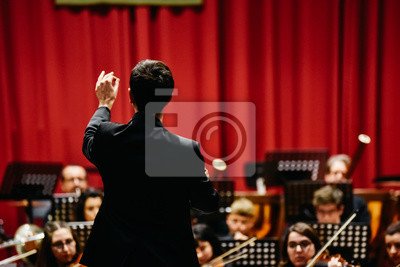 Naklejka Orchestra conductor from behind directing his musicians during a concert.