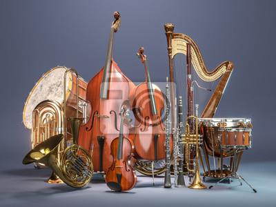 Naklejka Orchestra instrumenty muzyczne na szarym tle. Grafika trójwymiarowa