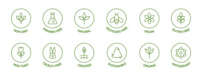 Naklejka Organic cosmetic line icons set. Product free allergen labels. Natural products badges. GMO free emblems. Organic stickers. Healthy eating. Vegan, bio food. Vector illustration