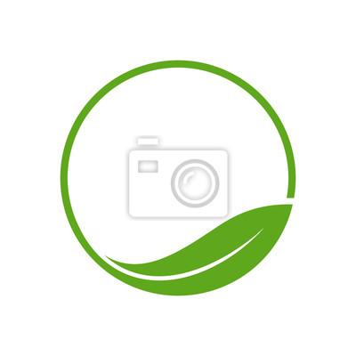 Naklejka Organic liści Koło prosty szablon logo Godło
