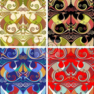 Oriental Style Jednolite tło z Peacocks