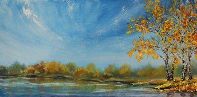 Naklejka Original oil painting  Autumn on the pond
