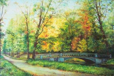 Naklejka Original oil painting The bridge in the forest