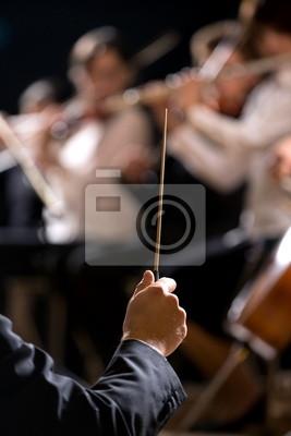 Naklejka Orkiestra dyrygent na scenie