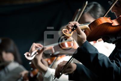 Naklejka Orkiestra Symfoniczna skrzypków wykonujących