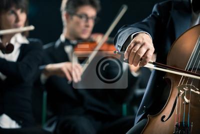 Naklejka Orkiestra symfoniczna: wiolonczela gracz zbliżenie