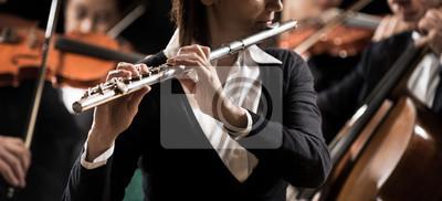 Orkiestra symfoniczna wydajność: flecista bliska