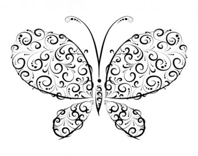 Naklejka Ornament sylwetka Butterfly dla projektowania