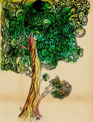 Naklejka Oryginalna stylizowane drzewo