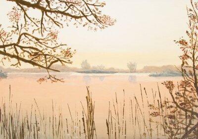 Naklejka Oryginalny obraz olejny przedstawiający piękne jezioro