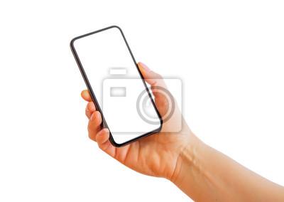 Naklejka Osoba posiadająca smartphone rezygnować pusty biały ekran. Makieta aplikacji mobilnej.