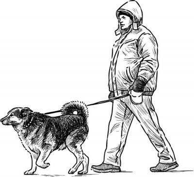 Naklejka Osoba z psem