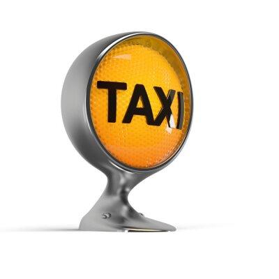 Naklejka oświetlone taksówką znak na rocznika reflektorów