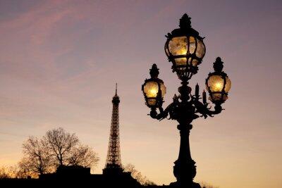 Naklejka Oświetlony Latarni na Pont Alexandre III Most z Wieży Eiffla w tle w Paryżu; Francja