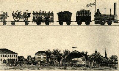Naklejka Otwarcie pierwszej stacji w Dreźnie (Bahnhof Leipziger) 1837